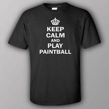 Funne joke T-shirt KEEP CALM AND PLAY PAINTBALL gun game balls mask ammo