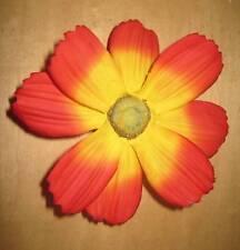 "4.75"" Red Yellow  Cosmos Silk Flower Hair Clip  Luau"