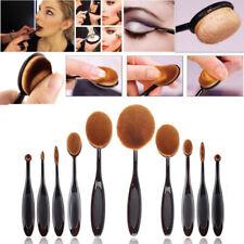 Kit 10 pcs pinceaux maquillage brosse ovale manche noir qualité professionnelle