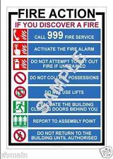 Istruzioni antincendio sicurezza sanitaria LAMINATO POSTER 4 Taglie di lavoro della fabbrica NEGOZIO UFFICIO