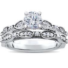 1 ct Vintage Diamond Engagement Ring & Matching Wedding Band Set 14k White Gold