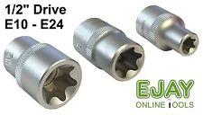 "E10 - E24 1/2"" Drive External Star Sockets - Chrome Vanadium with Satin Finish"