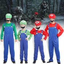 Enfants adultes Super Mario Bros Luigi Costume Famille Workmen Party Vêtement FR