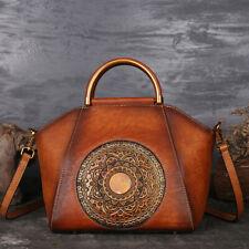 Womens Retro Genuine Leather Handbags Emboss Totem Shoulder Bag Tote Hobo