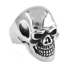 Totenkopf Skull Biker Rock n Roll Ring Silber Edelstahl NEU Groß & Massiv !