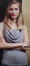 NEU Damen Fashion Top Glitzer Shirt Grau Pailletten Silber S 36/38