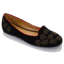 donna alla moda ROSSO BORDO basse oro cuore strass elegante scarpe mocassino