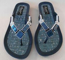 GRANDCO SANDALS Beach Pool THONG BLING Dressy BLUE DENIM COLOR GEMSTONES Jeweled