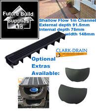 Shallow Flow Clark Drain Heavy Duty A15 PVC Channel Drainage Grating 1m Length
