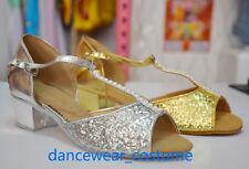 Mädchen Pailletten Ballsaal Latein Tango Salsa Tanzschuhe Tanzen Schuhe EU24-34