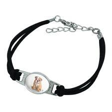 British Bulldog Puppy Dog Heart Glasses Suede Leather Metal Bracelet