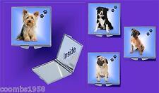 DOG BREED SQUARE COMPACT HANDBAG  MIRROR IDEAL GIFT BIRTHDAY MUM WIFE NAN