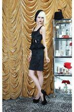 NEW AUTH ALice Olivia Yodi Square Neck Peplum Black Dress $440