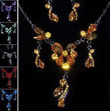 Set Collier Earrings Rhinestone Necklace Flowers Drop Bow Jewelry Set Earrings