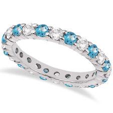 2.50CT Blue Topaz & Diamond Eternity Ring 14K White Gold