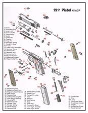 1911 45 ACP PISTOL DIAGRAM POSTER PICTURE BANNER GUN schematic kimber colt 3016