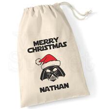 Personalised Star Wars Darth Vader Cotton Canvas Drawstring Christmas Sack Bag