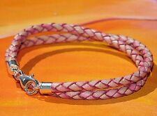 Ladies 4mm Antique Pink braided leather & sterling silver bracelet- Lyme Bay Art