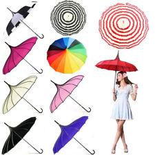 Unique Wedding Bridal Pagoda Windproof Straight Parasol Girl Party Rain Umbrella