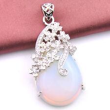 Huge Pear Shaped Rainbow Fire Moonstone Gemstone Vintage Silver Necklace Pendant