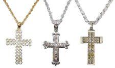 Bling Oro / Argento Diamante Croce Crocifisso HIP HOP Ciondoli
