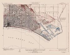 Topographical Map Print - Long Beach California Quad - USGS 1925 - 29.44 x 23