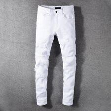 Men's White Ripped Stretch Slim Fit Jeans Cotton Pleated Patch Rivet Biker Pants