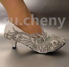 su.cheny White ivory rhinestone unique Wedding Bridal wedge pumps heels shoes