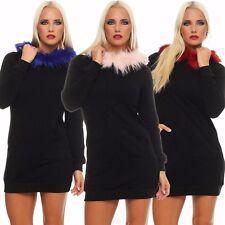 10775 Tailliertes Minikleid Shirtkleid LongShirt LongPullover Kapuze und Webpelz