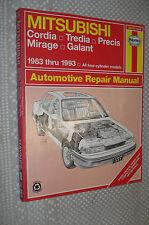 1983-1993 MITSUBISHI GALANT MIRAGE PRECIS TREDIA CORDIA SERVICE MANUAL SHOP BOOK