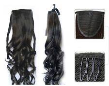 Clip On Black Dark Brown Auburn Medium Brown Wavy Pony Tail Hair Extensions
