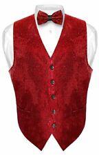 Men's SEQUIN Design Dress Vest Bow Tie RED Color BOWTie Set