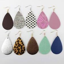 Boho Jewelry 2018 Spring Summer Leopard Leather Teardrop Bohemian Drop Earrings