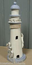Deko Holz Leuchtturm mit zwei Fischen & Anker ca. 28 x 10 cm maritime Dekoration