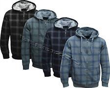 New Mens/Women Check Fur Lined Hoodie Hooded Top/ Winter Warmer M - XXXL