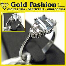 Anello in oro acqua marina e diamanti - ct 0,18 -GF5033