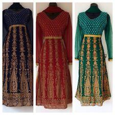 Bolloywood Indian Pakistani Long Blue Green Maroon Anarkali Salwar Kameez Size M