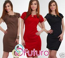 Ladies Mini Bodycon With Necklace Crew Neck Short Sleeve Tunic Sizes 8-12 FC2778
