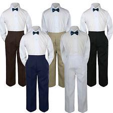 3pc Boy Suit Set Green Teal Bow Tie Baby Toddler Kids Uniform Shirt Pants S-7