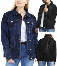 Womens Plus Size 18 20 22 24 Boyfriend Fit Denim Jacket Jean Jackets Blue Black