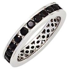 Ring Damenring aus 925 Silber glänzend Zirkonia schwarz rundum Damen, Silberring