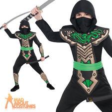Child Dragon Ninja Costume Boys Assassin Fancy Dress Martial Arts Outfit New