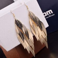 Women Elegant Hook Earrings Hollow Out Willow Leaf Dangle Drop Ear Stud Jewelry