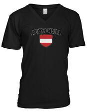 Austria Flag Crest Austrian National Country Pride Mens V-neck T-shirt