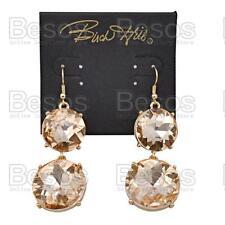 LARGE SPARKLY CRYSTAL EARRINGS round glass RHINESTONE heavy GOLD FASHION gift UK