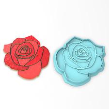 Rose Cookie Cutter 2-Piece, Outline & Stamp. Flower Valentine's Day Love
