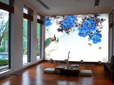 3D Blaue Pfingstrose Fototapeten Wandbild Fototapete Bild Tapete Familie Kinder