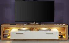 TV-Lowboard Fernsehtisch Hochglanz weiß Eiche Wotan Unterteil Breite 200 cm Rock