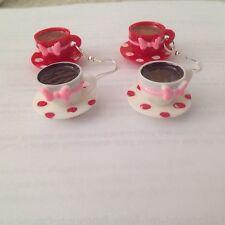 Alice in Wonderland Polka Dot Tea Cup Drop Dangle Earrings Red or White