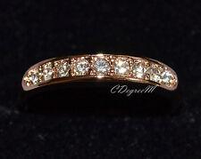 18K Rose Gold GP Austrian Crystal Thumb Pinky Ring Wedding Band Stackable